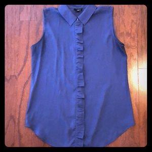 Ann Taylor Ruffled sleeveless dress shirt
